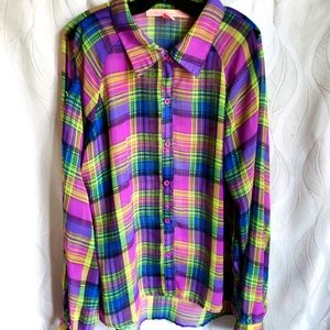 Sheer Vibrant Plaid Open Long Sleeve Button Down
